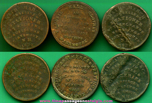 (3) 1800's United States Advertising Hard Times Tokens