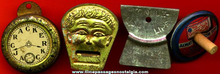 (4) Old Tin Cracker Jack Prizes