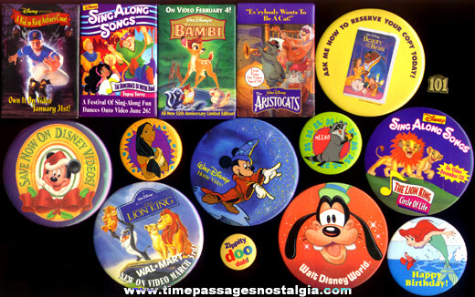 (15) Different Walt Disney Related Pin Back Buttons