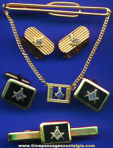 (2) Masonic Cuff Link & Tie Bar Sets