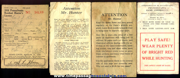 (10) Old Pennsylvania Hunting Papers & Licenses