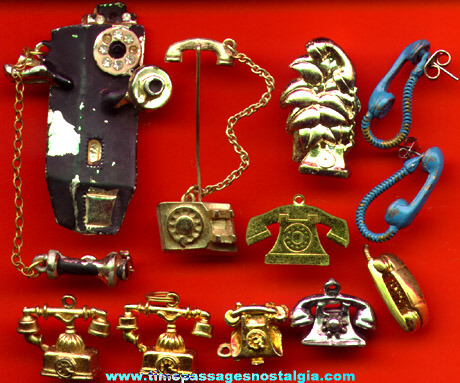 (10) Small Telephone Jewelry Items