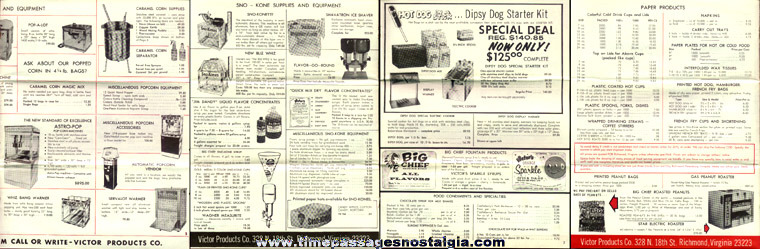 1967 Victor Products Company Concession Supply Catalog