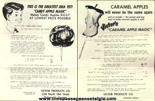 (8) 1967 Victor Products Company Concession Related Paper Items