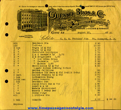 (15) 1917 - 1925 Gurnsey Brothers & Company Confectionery Invoices