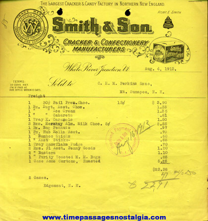(15) 1911 - 1915 Smith & Son Confectionery Invoices