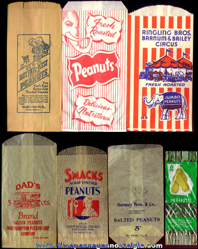 (7) Different Old Advertising Peanut Bags