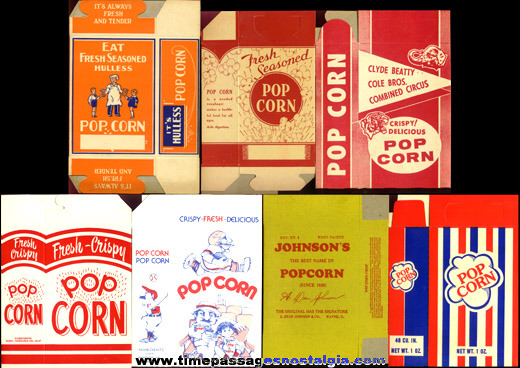 (7) Different Old Unused Advertising Popcorn Boxes