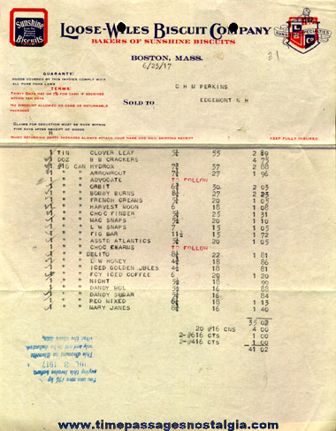 (32) 1912 to 1923 Loose - Wiles Biscuit Company Sales Invoices