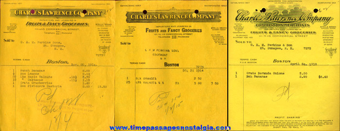 (23) 1912 to 1923 Charles Lawrence Company Fruit & Fancy Grocery Invoices
