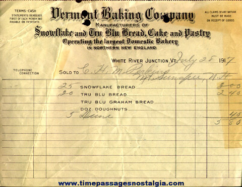 (41) 1912 to 1925 Vermont Baking Company Sales Invoices
