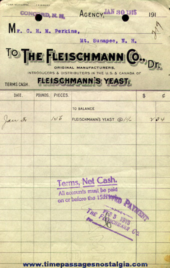 (36) 1911 to 1924 Fleischmann Company Sales Invoices