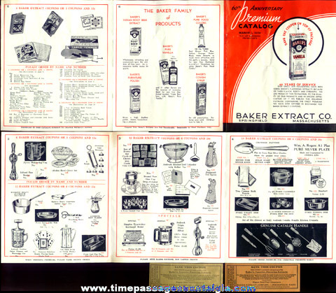 1939 Baker Extract Company Advertising Premium Catalog With (2) Coupons