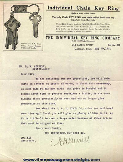 (3) 1920 Individual Key Ring Company Correspondence Letters