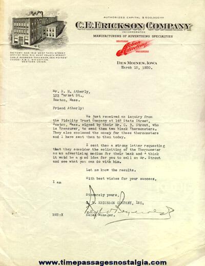 (5) 1920 C.E. Erickson Company Correspondence Letters