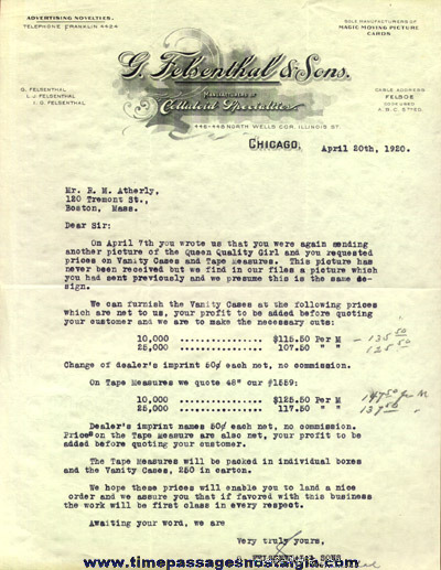(7) 1920 G. Felsenthal & Sons Correspondence Letters