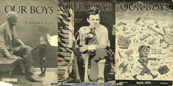 (3) 1928 - 1929 OUR BOYS Curtis Salesmen & Premium Booklets