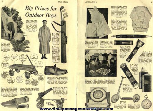 (3) 1928 - 1929 OUR BOYS Curtis Salesmen & Premium Booklets
