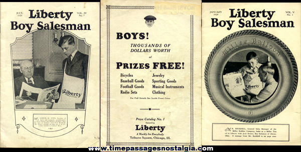 (3) 1928 - 1929 Liberty Magazine Boy Salesmen Booklets