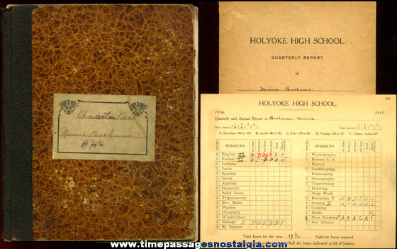 Interesting 1914 Holyoke High School Student Character Scrap Book And Report Card