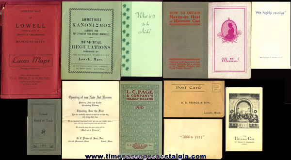 (12) Old Lowell, Massachusetts Paper Items