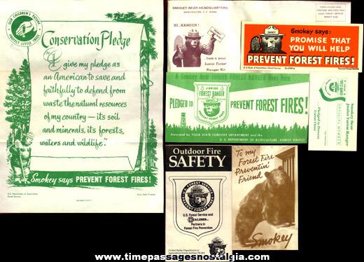 (7) Old Smokey Bear Character Items