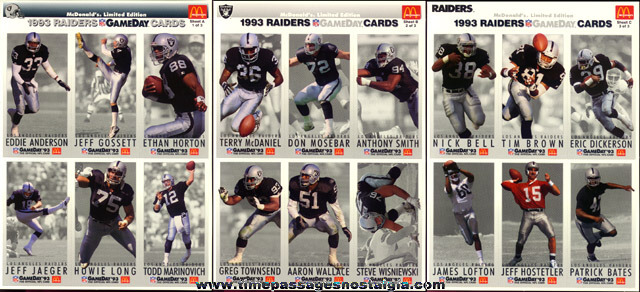 (70) 1993 McDonalds L.A. Raiders Football Card Sheets (420 cards)