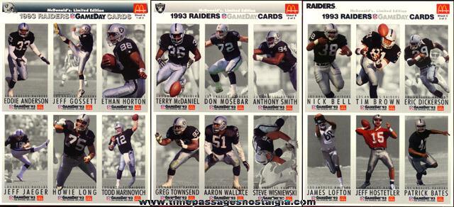 (70) 1993 McDonalds L.A. Raiders Football Card Sheets (420 cards)