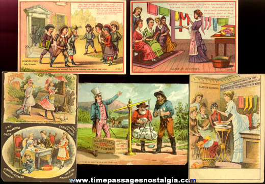 (5) Colorful Old Victorian Advertising Trade Cards