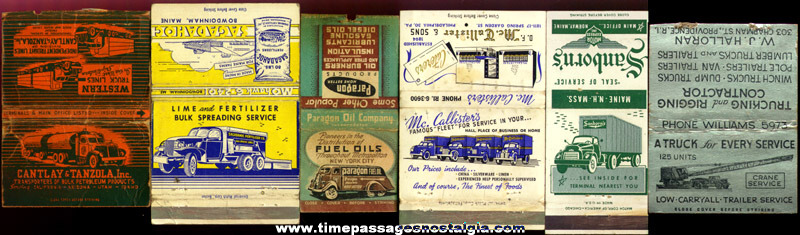 (6) Old Trucking Advertising Match Pack Covers