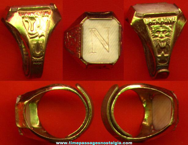 RARE 1939 FRANK BUCK Bring 'em Back Alive Ivory Initial Premium Ring