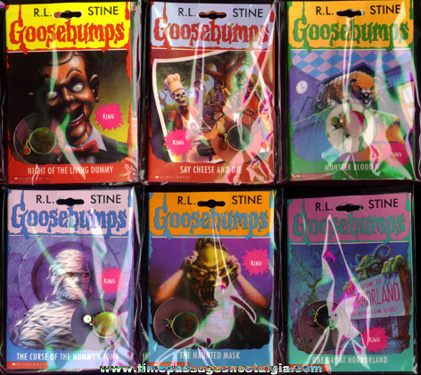Complete Unopened Set Of (6) R.L Stine Goosebumps Character 3-D Hologram Toy Rings