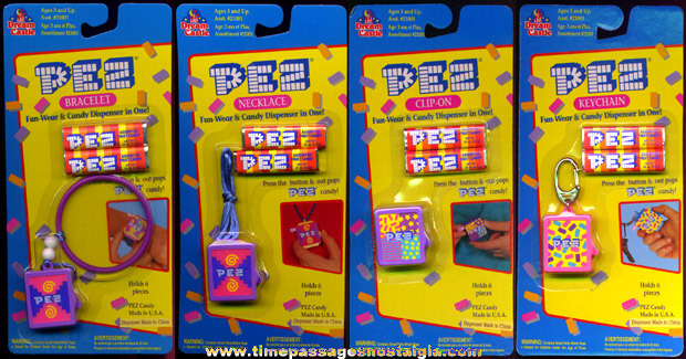 (4) Unopened �1994 PEZ Candy Dispenser Jewelry Items