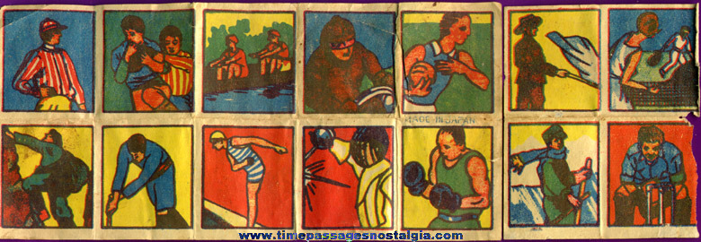 (14) Different Colorful 1930s Cracker Jack Pop Corn Confection Toy Prize Sports Transfer Pictures