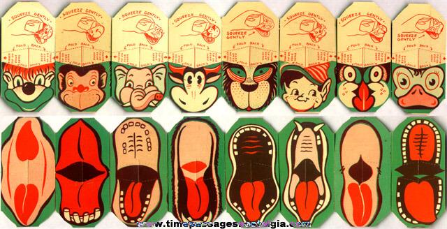 Complete Set Of (8) Unused 1940's Cracker Jack Premium / Prize Paper Finger Puppets
