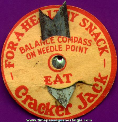 1920's - 1930's Cracker Jack Premium / Prize Paper & Metal Compass
