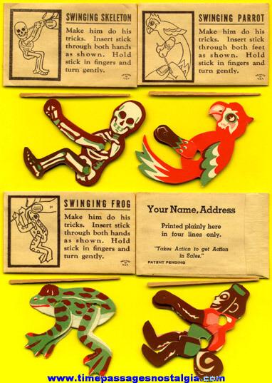 Complete Set Of (4) RARE Cracker Jack Prize / Premium Swinging Toys With Envelopes
