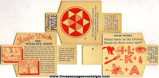 (3) 1930's Cracker Jack / Checkers Popcorn Confection Box Divider Puzzle Cards