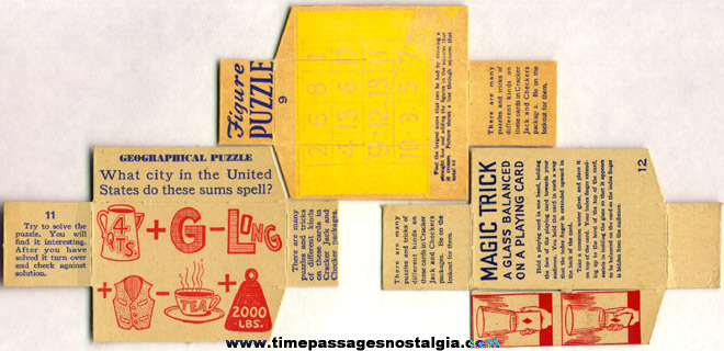 (3) 1930's Cracker Jack / Checkers Popcorn Confection Box Divider Puzzle Cards