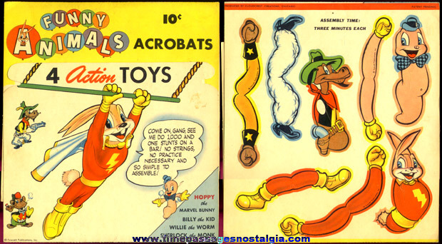 RARE Unused 1944 C. Carey Cloud Acrobatic Figures Paper Toy Set