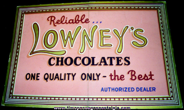 Large RARE Old Lowney's Chocolates Dealer Sign