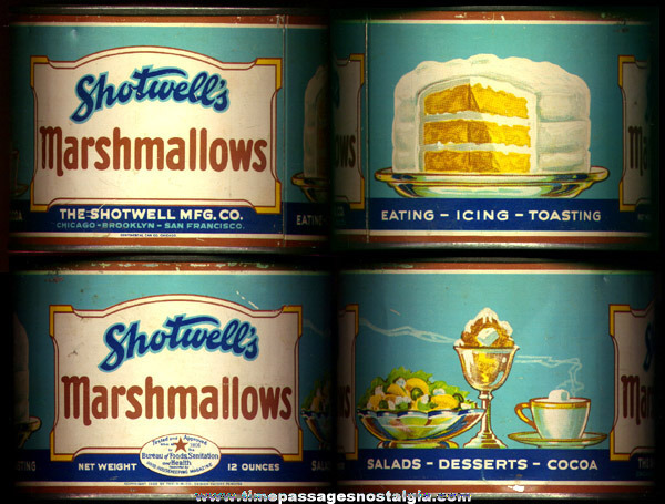 Colorful 1928 (12) Ounce Shotwell's Marshmallows Advertising Tin
