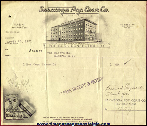 1931 Graphic Saratoga Pop Corn Company Billhead / Invoice
