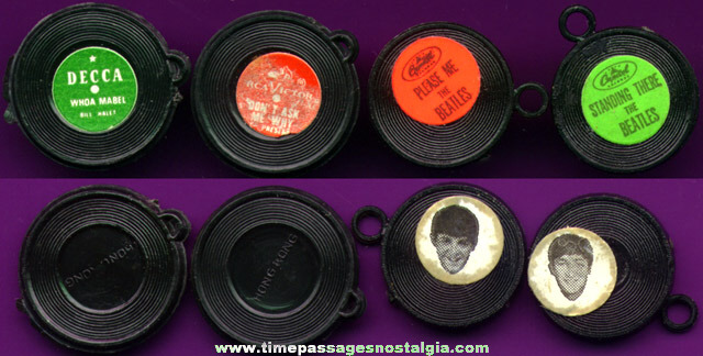 (4) Old Record Gum Ball Machine Charms
