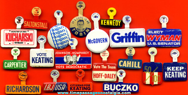 (19) Different Old Political Campaign Tin Tab Buttons