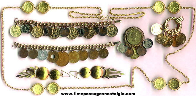 (7) Old Coin Jewelry Items