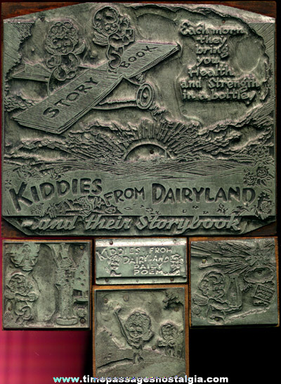 "(5) Old Metal & Wood ""Kiddies From Dairyland"" Advertising Print Blocks"
