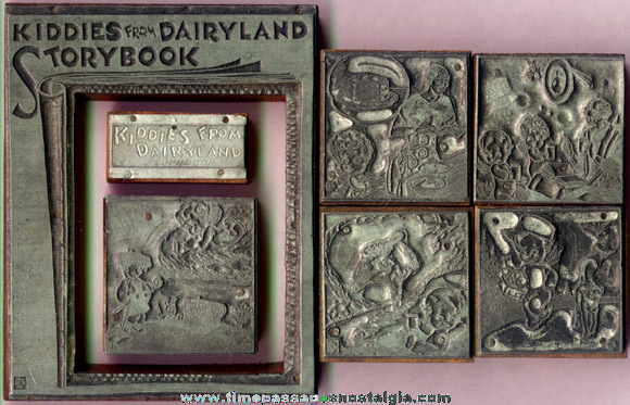 "(7) Old Metal & Wood ""Kiddies From Dairyland"" Advertising Print Blocks"