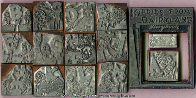 "(15) Old Metal & Wood ""Kiddies From Dairyland"" Advertising Print Blocks"