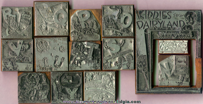 "(14) Old Metal & Wood ""Kiddies From Dairyland"" Advertising Print Blocks"